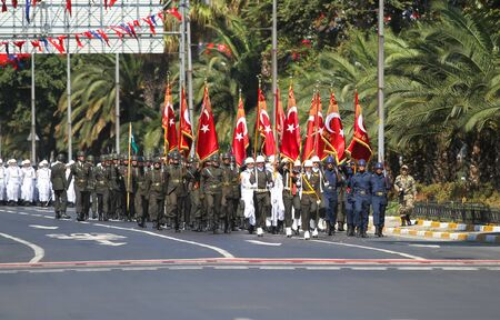 the 30: ISTANBUL, TURKEY - AUGUST 30, 2015: Soldiers march during 93th anniversary of 30 August Turkish Victory Day parade on Vatan Avenue Editorial