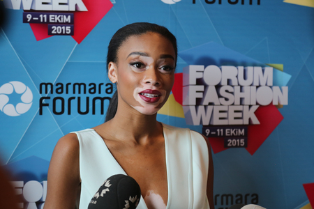 ISTANBUL, TURKEY - OCTOBER 10, 2015: Model Chantelle Brown Young interview after catwalk in Forum Fashion Week 에디토리얼