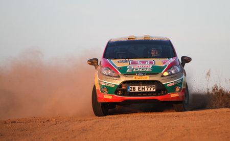 turkiye: ISTANBUL, TURKEY - NOVEMBER 14, 2015: Bugra Banaz drives Ford Fiesta R2 of Castrol Ford Team Turkiye in Isok Istanbul Rally 2015, Special stage