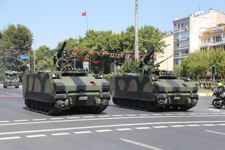 armoured: ISTANBUL, TURKEY - AUGUST 30, 2015: Armoured personnel carrier during 93th anniversary of 30 August Turkish Victory Day parade on Vatan Avenue