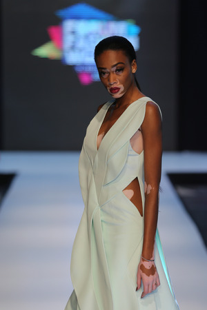 ISTANBUL, TURKEY - OCTOBER 10, 2015: Model Chantelle Brown Young in Forum Fashion Week
