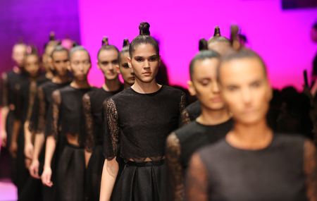 runway fashion: ISTANBUL, TURKEY - SEPTEMBER 30, 2015: Models after ADL Cengiz Abazoglu Catwalk