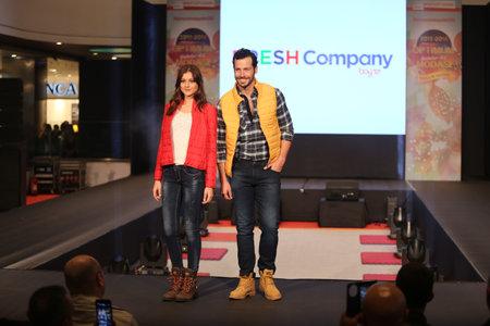 optimum: ISTANBUL, TURKEY - NOVEMBER 07, 2015: Models showcase the latest creations of stores in Optimum Outlet during Optimum Fashion days catwalk