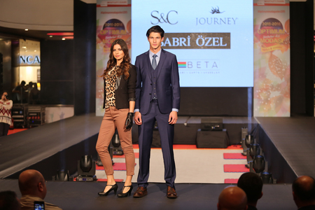 the latest models: ISTANBUL, TURKEY - NOVEMBER 07, 2015: Models showcase the latest creations of stores in Optimum Outlet during Optimum Fashion days catwalk