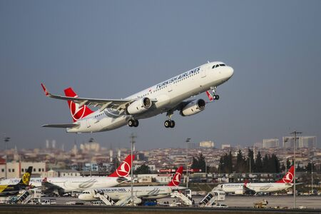 thy: ISTANBUL, TURKEY - NOVEMBER 21, 2015: Turkish Airlines Airbus A321-231 (CN 6758) takes off from Istanbul Ataturk Airport. THY is the flag carrier of Turkey with 299 fleet size and 280 destinations