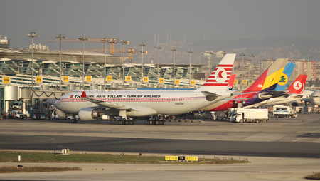 tk: ISTANBUL, TURKEY - NOVEMBER 21, 2015: Retro Turkish Airlines Airbus A330-203 (CN 742) in Istanbul Ataturk Airport. Kushimoto named plane shows Turkish and Japanese friendship.