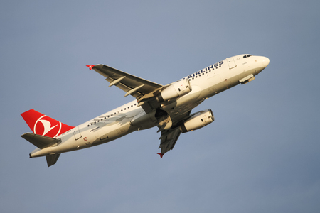 thy: ISTANBUL, TURKEY - NOVEMBER 21, 2015: Turkish Airlines Airbus A321-232 (CN 2522) takes off from Istanbul Ataturk Airport. THY is the flag carrier of Turkey with 299 fleet size and 280 destinations