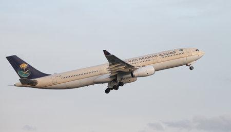 ataturk: ISTANBUL, TURKEY - NOVEMBER 21, 2015: Saudi Arabian Airlines Airbus A330-343 (CN 1127) takes off from Istanbul Ataturk Airport. Saudi with 167 fleet size and 126 destinations