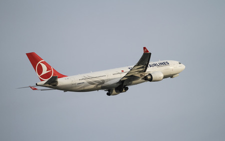 tk: ISTANBUL, TURKEY - NOVEMBER 21, 2015: Turkish Airlines Airbus A330-202 (CN 882) takes off from Istanbul Ataturk Airport. THY is the flag carrier of Turkey with 299 fleet size and 280 destinations