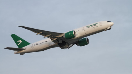 ISTANBUL, TURKEY - NOVEMBER 21, 2015: Turkmenistan Airlines Boeing 777-22KLR (CN 422961181) takes off from Istanbul Ataturk Airport. TUA with 33 fleet size and 23 destinations Editorial