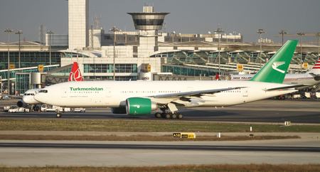 turkmenistan: ISTANBUL, TURKEY - NOVEMBER 21, 2015: Turkmenistan Airlines Boeing 777-22KLR (CN 422961181) taxi before take off from Istanbul Ataturk Airport. TUA with 33 fleet size and 23 destinations Editorial