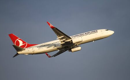 thy: ISTANBUL, TURKEY - NOVEMBER 21, 2015: Turkish Airlines Boeing 737-8F2 (CN 344151988) takes off from Istanbul Ataturk Airport. THY is the flag carrier of Turkey with 299 fleet size and 280 destinations