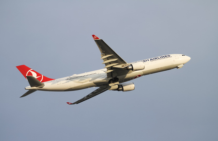 tk: ISTANBUL, TURKEY - NOVEMBER 21, 2015: Turkish Airlines Airbus A330-303 (CN 1622) takes off from Istanbul Ataturk Airport. THY is the flag carrier of Turkey with 299 fleet size and 280 destinations