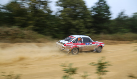 kap: KOCAELI, TURKEY - AUGUST 22, 2015: Engin Kap with Ford Escort MK2 of Bonus Unifree Parkur Racing Team in Kocaeli Rally 2015