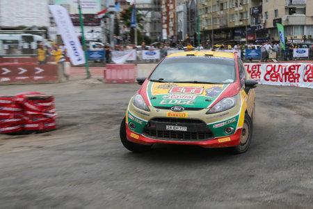 turkiye: KOCAELI, TURKEY - AUGUST 22, 2015: Bugra Banaz with Ford Fiesta R2 of Castrol Ford Team Turkiye in special stage of Kocaeli Rally 2015 Editorial