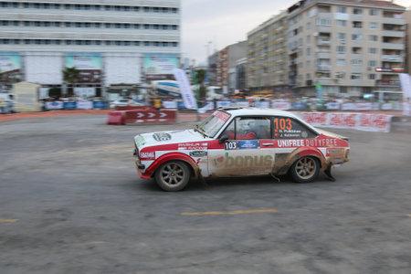 escort: KOCAELI, TURKEY - AUGUST 22, 2015: Hannu Pulkkinen with Ford Escort MK2 of Bonus Unifree Parkur Racing Team in special stage of Kocaeli Rally 2015
