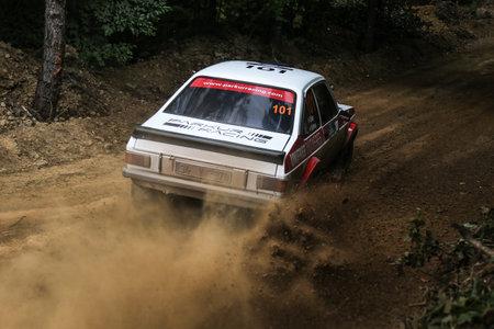 escort: KOCAELI, TURKEY - AUGUST 23, 2015: Engin Kap with Ford Escort MK2 of Bonus Unifree Parkur Racing Team in Kocaeli Rally 2015
