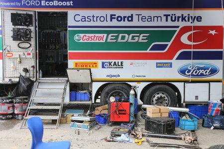 turkiye: KOCAELI, TURKEY - AUGUST 23, 2015: Service truck of Castrol Ford Team Turkiye in Kocaeli Rally 2015