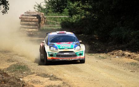 turkiye: KOCAELI, TURKEY - AUGUST 23, 2015: Murat Bostanci with Ford Fiesta S2000 of Castrol Ford Team Turkiye in Kocaeli Rally 2015
