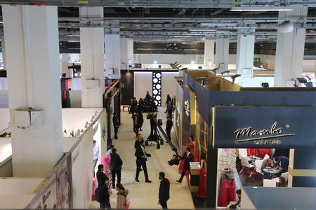 congress center: ISTANBUL, TURKEY - JANUARY 16, 2016: General view of Fashionist Fair in Lutfi Kirdar Congress Center. Fashionist is evening gowns, wedding dresses and suits fair. Editorial