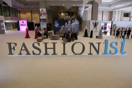 congress center: ISTANBUL, TURKEY - JANUARY 14, 2016: General view of Fashionist Fair in Lutfi Kirdar Congress Center. Fashionist is evening gowns, wedding dresses and suits fair.
