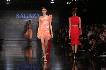 ISTANBUL, TURKEY - JANUARY 14, 2016: A model showcases one of the latest creations of Sagaza Madrid, Profundo Del Mar collection during Fashionist Fair. Editorial