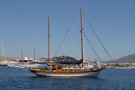 A Sailboat in Aegean Coast of Turkey Stok Fotoğraf