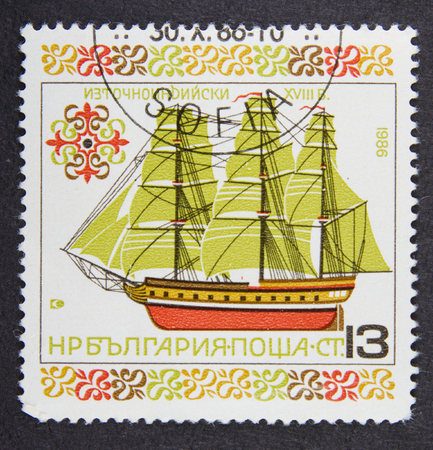 postmail: BULGARIA - CIRCA 1986: A stamp printed in Bulgaria, shows East Indiaman, 18th century in ships series Editorial