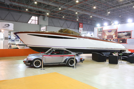 eurasia: ISTANBUL, TURKEY - FEBRUARY 13, 2016: AG 44 Cruiser boat on display at 9th CNR Eurasia Boat Show in CNR Expo Center Editorial