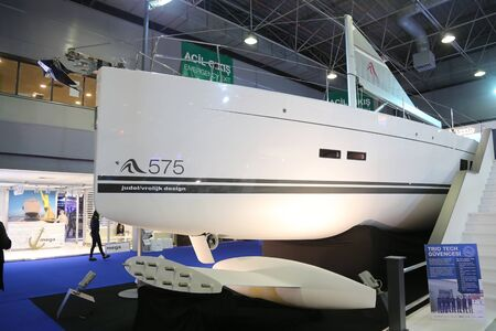 eurasia: ISTANBUL, TURKEY - FEBRUARY 13, 2016: Hanse 575 sailboat on display at 9th CNR Eurasia Boat Show in CNR Expo Center
