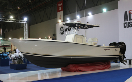 eurasia: ISTANBUL, TURKEY - FEBRUARY 13, 2016: AL Custom Raymarine fishing boat on display at 9th CNR Eurasia Boat Show in CNR Expo Center