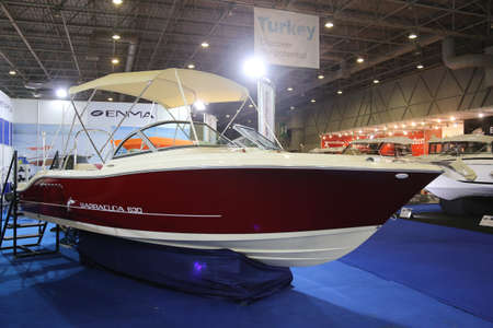 eurasia: ISTANBUL, TURKEY - FEBRUARY 13, 2016: Enma Barracuda 630 boat on display at 9th CNR Eurasia Boat Show in CNR Expo Center Editorial