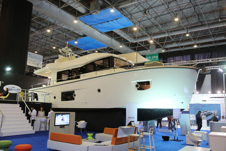 eurasia: ISTANBUL, TURKEY - FEBRUARY 13, 2016: Cranchi Yacht on display at 9th CNR Eurasia Boat Show in CNR Expo Center Editorial