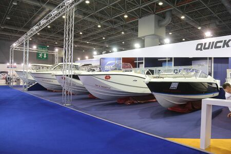 quicksilver: ISTANBUL, TURKEY - FEBRUARY 13, 2016: Quicksilver boats on display at 9th CNR Eurasia Boat Show in CNR Expo Center