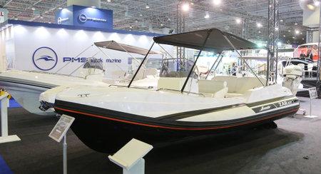 eurasia: ISTANBUL, TURKEY - FEBRUARY 13, 2016: Zar Formenti Zar 57 boat on display at 9th CNR Eurasia Boat Show in CNR Expo Center Editorial