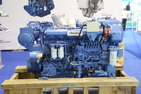 baudouin: ISTANBUL, TURKEY - FEBRUARY 13, 2016: Baudouin ship engine on display at 9th CNR Eurasia Boat Show in CNR Expo Center