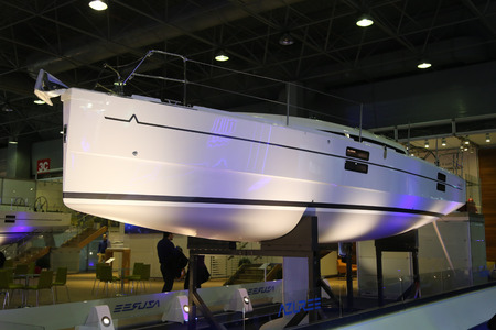 eurasia: ISTANBUL, TURKEY - FEBRUARY 13, 2016: Azure Sailboat on display at 9th CNR Eurasia Boat Show in CNR Expo Center