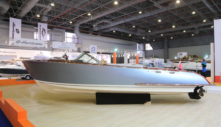 ag: ISTANBUL, TURKEY - FEBRUARY 13, 2016: AG 29 boat on display at 9th CNR Eurasia Boat Show in CNR Expo Center Editorial