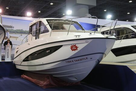 quicksilver: ISTANBUL, TURKEY - FEBRUARY 13, 2016: An Quicksilver boat on display at 9th CNR Eurasia Boat Show in CNR Expo Center Editorial