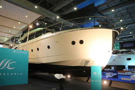 mc: ISTANBUL, TURKEY - FEBRUARY 13, 2016: Montecarlo MC 6 yacht on display at 9th CNR Eurasia Boat Show in CNR Expo Center