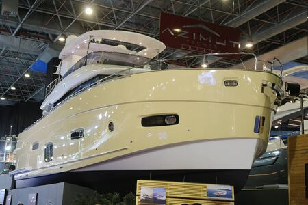 eurasia: ISTANBUL, TURKEY - FEBRUARY 13, 2016: Azimut Yacht on display at 9th CNR Eurasia Boat Show in CNR Expo Center