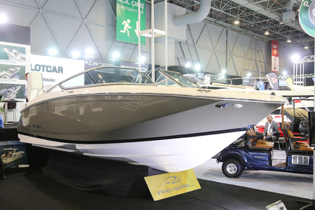 eurasia: ISTANBUL, TURKEY - FEBRUARY 13, 2016: Regal boat on display at 9th CNR Eurasia Boat Show in CNR Expo Center