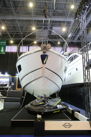 eurasia: ISTANBUL, TURKEY - FEBRUARY 13, 2016: Sunseeker Yacht on display at 9th CNR Eurasia Boat Show in CNR Expo Center