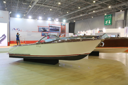 eurasia: ISTANBUL, TURKEY - FEBRUARY 13, 2016: AG 19 boat on display at 9th CNR Eurasia Boat Show in CNR Expo Center