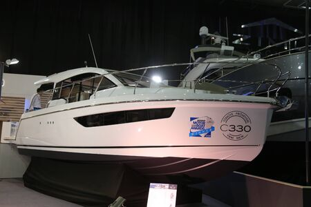 eurasia: ISTANBUL, TURKEY - FEBRUARY 13, 2016: Sealine C330 Boat on display at 9th CNR Eurasia Boat Show in CNR Expo Center