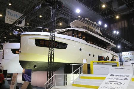 eurasia: ISTANBUL, TURKEY - FEBRUARY 13, 2016: Navetta 52 yacht on display at 9th CNR Eurasia Boat Show in CNR Expo Center