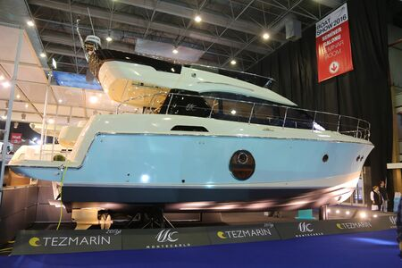 eurasia: ISTANBUL, TURKEY - FEBRUARY 13, 2016: Montecarlo yacht on display at 9th CNR Eurasia Boat Show in CNR Expo Center
