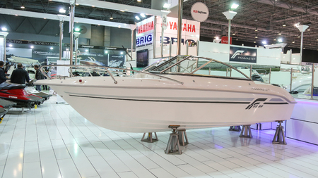 br: ISTANBUL, TURKEY - FEBRUARY 13, 2016: Finnmaster 55 BR boat on display at 9th CNR Eurasia Boat Show in CNR Expo Center