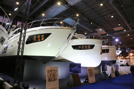 eurasia: ISTANBUL, TURKEY - FEBRUARY 13, 2016: Yachts on display at 9th CNR Eurasia Boat Show in CNR Expo Center Editorial