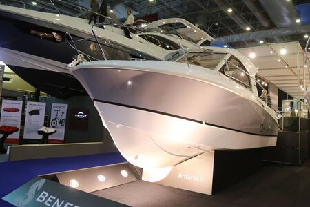 eurasia: ISTANBUL, TURKEY - FEBRUARY 13, 2016: Beneteau Antares 8 motoryacht on display at 9th CNR Eurasia Boat Show in CNR Expo Center